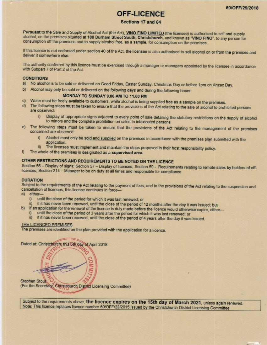 Vino Fino Liquor Licence 20118